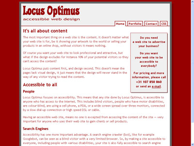 screenshot of locusoptimus.com on Safari for Windows