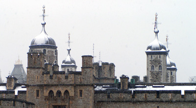 Tower of London with snow on the rooftops