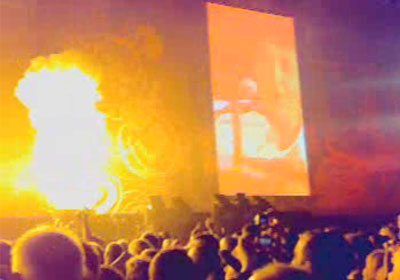 flames on stage at Liverpool Sound